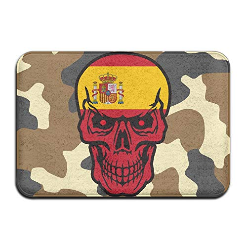 Spain Flag Skull Indoor Outdoor Entrance Rug Non Slip Standing Mat Doormat Rugs Home by HONMAt-Non
