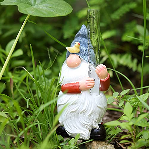 WXCTEAM Rain Gauges Gnome Garden Statue Decoration with Two Glass Rain Gauge Replacement Tube, Hand Painted Resin Gnome Sculpture Water Gauge for Yard Fence Patio Lawn Deck