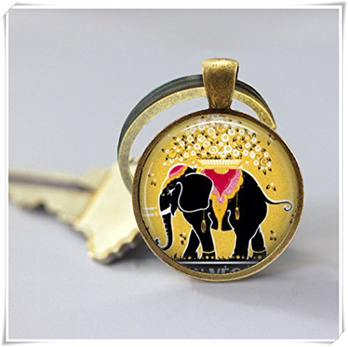 Magical magnet Elephant Keychain Vintage French Perfume Label Good Luck Key Chain Key