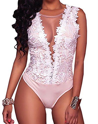 Loralie Damen Chic Spitze Bodysuit V-Ausschnitt Bodys Overall Ärmellos Tops Rückenfrei Oberteil (Small Size)