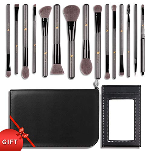 DUcare15 Pcs Pro Makeup Brush Set with Case and Travel Mirror Gift Choice Synthetic Professional Foundation Blending Brush Face Powder Blush Concealer Make Up Brushes