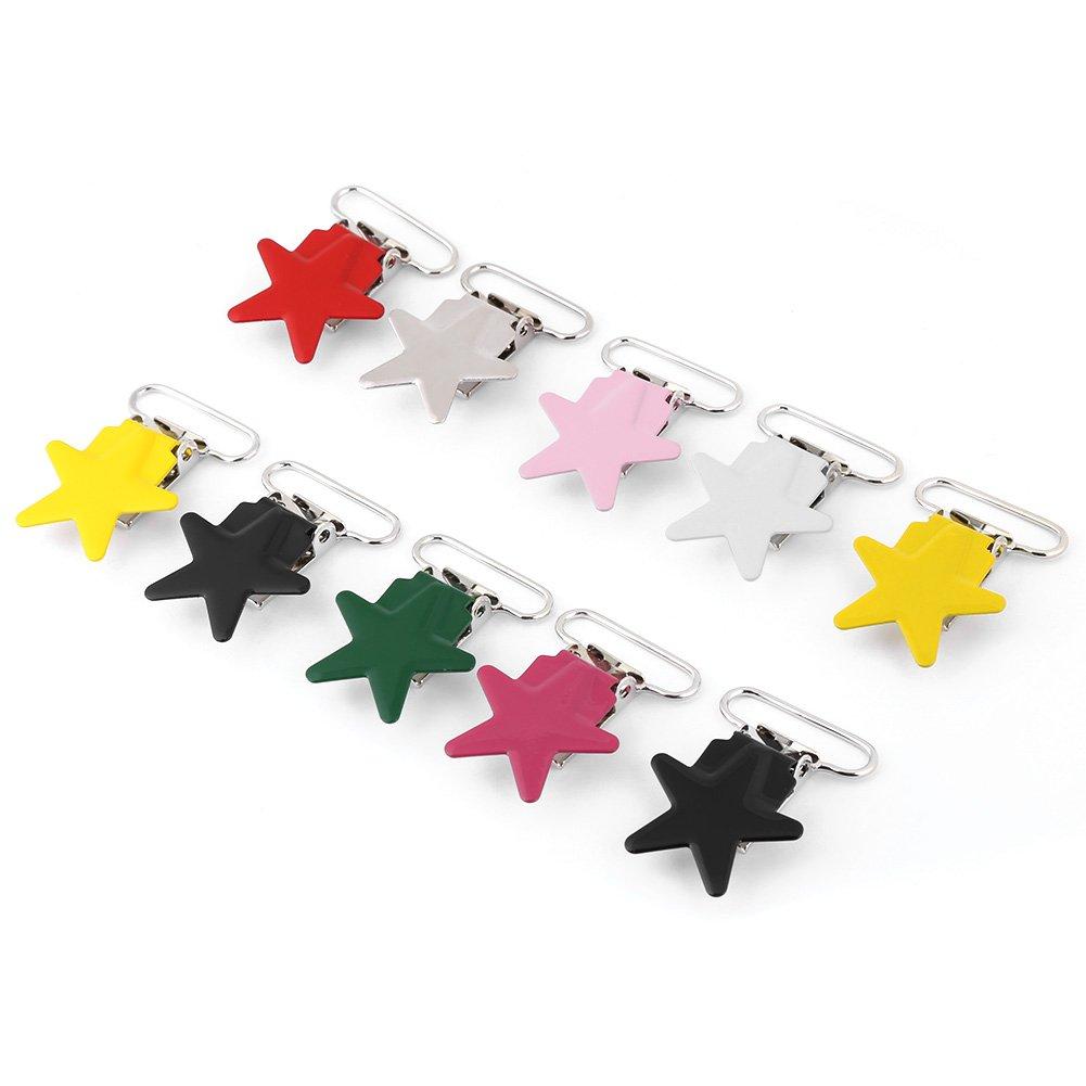 Attaches-sucettes Pentagram Suspender Snap Baby Sucette Bretelles Support de sangle pour fabrication de bricolage en cuir Artisanat diff/érents couleurs 10pcs Attache-t/étine