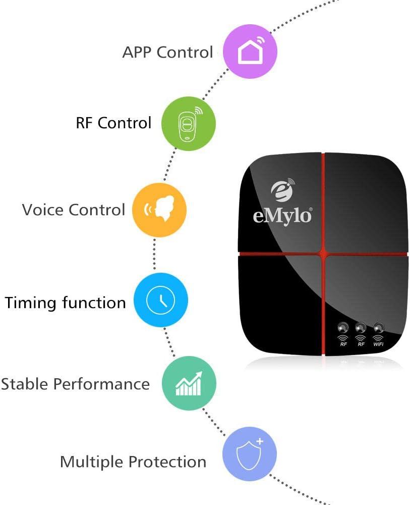 Schalter Fernbedienung 12v Google Home und IFTTT eMylo WiFi funk relais 5V-24V 2-Kanal-funkschalter mit fernbedienung Wifi-Dimmer Kompatibel mit Alexa
