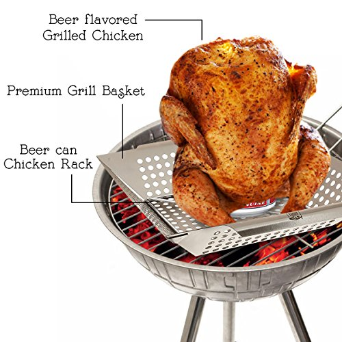 Yukon Glory 2 Piece BBQ Basket and Chicken Rack Set, 12oz Beer Can Holder, Non Stick Grill Work