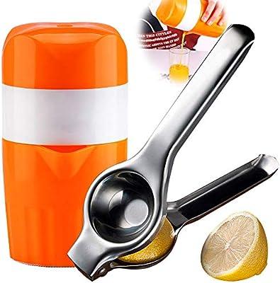 Saftpresse Entsafter mit Auffangbehälter Obstpresse Silber Orangepresse