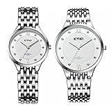 TIDOO Ultrathin Watches Lovers Rhinestone Watch for Men Stainless Steel Men's Women's Quartz Wrist Watch Female Form Male Table
