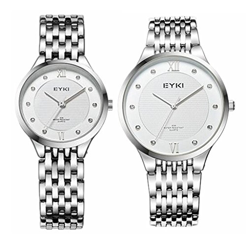 TIDOO Ultrathin Watches Lovers Rhinestone Watch for Men Stainless Steel Men's Women's Quartz Wrist Watch Female Form Male Table by TIDOO