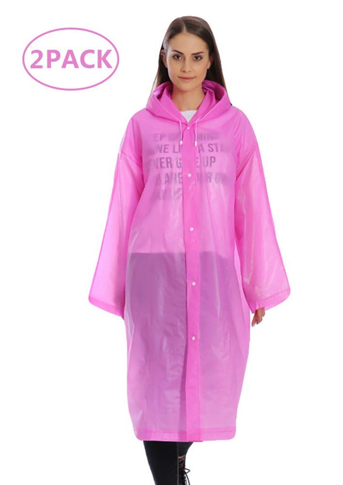 Oeak Portable Rain Poncho Unisex EVA Environment Friendly Material Raincoat Repeated Use 2 Pack