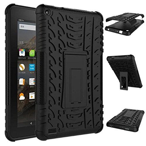 Photo - For Kindle accessories,Kshion Rubber Shockproof Hybrid Hard Protective Case Cover Stand Holder [Anti Slip] for Kindle Fire HD7 2015 (Black)