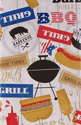 (Grill Zone BBQ Vinyl Flannel Back Tablecloth (60