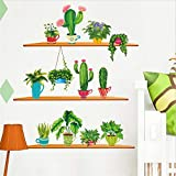 Amtoodopin Wall Decals Cactus Wall Sticker Green Succulent Plants Wall Decal Removable Cartoon Potted Wall Stickers Wall Mural for Baby Girls Bedroom (Green Potted)