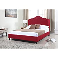 Home Life Cloth Burgundy Red Linen 51 Tall Headboard Platform Bed with Slats King - Complete Bed 5 Year Warranty Included 009