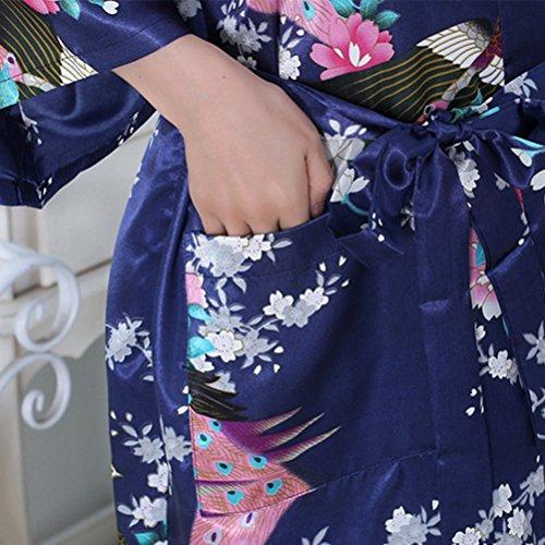 Maniche Donna Blu Scuro Fiori Intimo da Vestaglia Camicia Accappatoio Kimono 3 notte pavone di Oudan Donna 4 qUfp7g