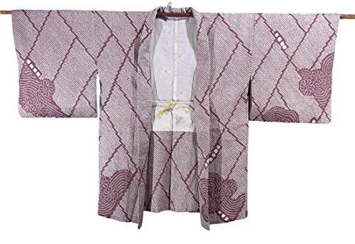 リサイクル 羽織  総絞り 網代格子に菊水文 正絹 裄64cm 身丈80cm