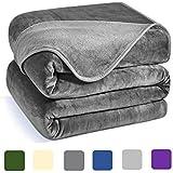 Charm Heart Luxury Fleece Blanket, 350GSM Blanket Super Soft Warm Thick Blanket for Home Bed Blankets King Size, Dark Grey 90×108 in