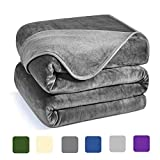 Charm Heart Luxury Fleece Blanket,350GSM Blankets Super Soft Warm Thick Blanket for Home Bed Blankets Queen Size, Dark Grey 90×90 in