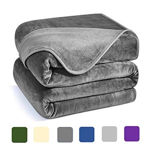 Charm Heart Luxury Fleece Blanket,Winter 350GSM Blanket Super Soft Warm Thick Blanket for Home Bed Blankets King Size, Dark Grey 90×108 in by Charm Heart