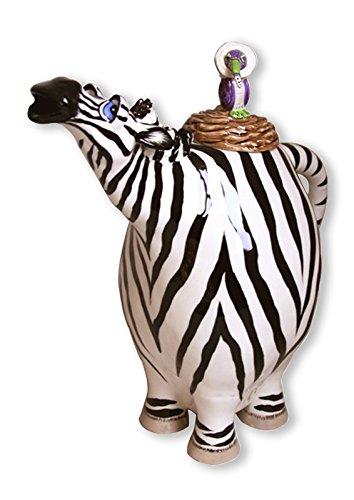 "Blue Sky Ceramic Zebra Teapot, 9 x 5 x 9.5"""