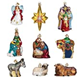 Old World Christmas Nativity Collection Glass Ornaments Set of 9 14020