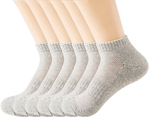 Feet Anklet Socks Pro (Areke Womens Peformance Cotton Low Cut Anklet Casual Socks, Seamless Short Athletic Quarter Soxs Color Grey 6 Packs Size A)
