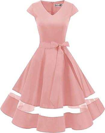 Gardenwed Vintage 1950s Rockabilly Polka Dots Cocktail Dress Cap Sleeve Retro Prom Party Dress