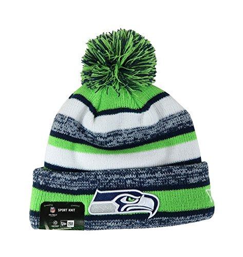 New Era On Field Sport Knit Seattle Seahawks Game Hat Navy/Green/White Size One Size (Hat Seahawks Winter Womens)