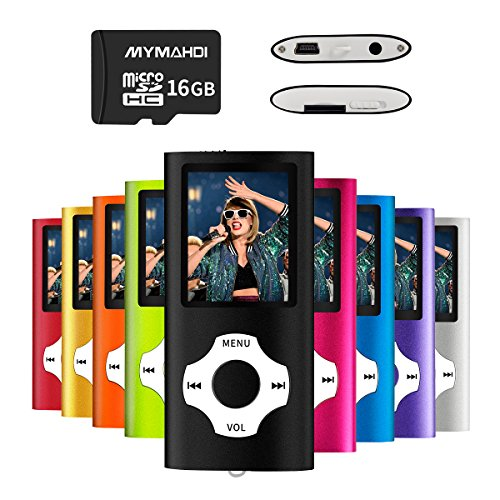 MYMAHDI MP3/MP4 Music Player with 16 GB Micro SD Card(Expandable up to 128GB),Supporting Photo Viewer,Voice Recorder,FM Radio,E-Book and High Quality Earphone Provided Color Black