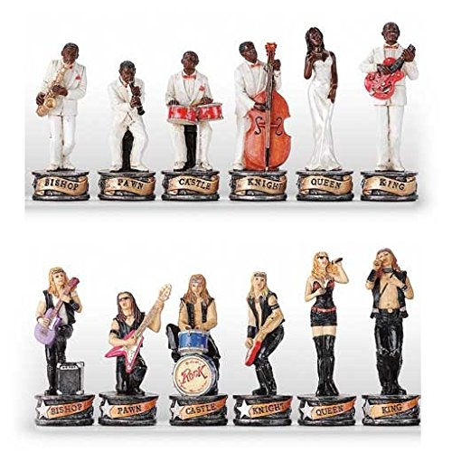 Italfama Rock & Roll v.s Jazz Hand Painted Polystone Chess Pieces ()