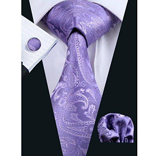 Hi-Tie Pure Purple Paisley Fashion Necktie (Violet Solid Tie)