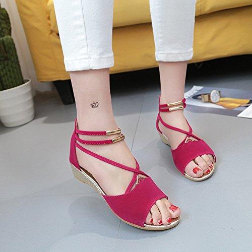 Scothen Zapatos las sandalias de las mujeres correa del tobillo romana Trenzado T-Correa Gladiador correa de los planos clip sandalias de punta zapatillas de playa del flip-flop de las mujeres Rojo