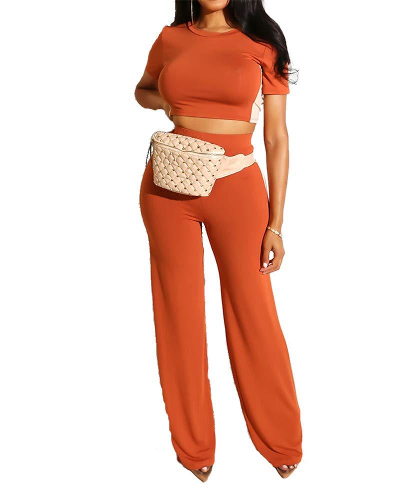 Women Two Piece Outfits - Casual Crop Top + Wide Leg Pants Outfits Sets Orange M by Uni Clau