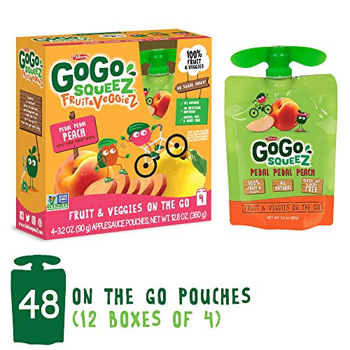 GoGo squeeZ Fruit & VeggieZ on the Go, Apple Peach Sweet Potato, 3.2 Ounce (48 Pouches), Gluten Free, Vegan Friendly, Healthy Snacks, Unsweetened, Recloseable, BPA Free Pouches
