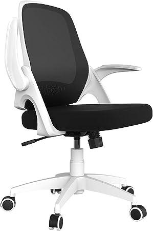 Hbada Fauteuil de Bureau avec Accoudoirs Pliables, Chaise en Maille Respirable et Confortable, Hauteur Réglable, Blanc