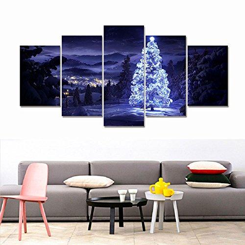 Gulin Pintura al óleo de la Lona del árbol de Navidad LED, Adecuado para Sala de Estar Cafetería Decoración del hogar