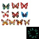 10 Pcs Colorful 3D Luminous Butterfly With Pin Home Decor