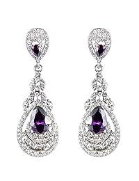 Ever Faith Silver-Tone Cubic Zirconia Austrian Crystal Bridal Tear Drop Chandelier Dangle Earrings