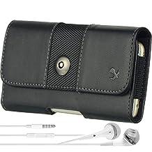 Blackberry Leap / Priv Smartphone Case, Shock-Proof Rugged Leather Hip Holster w/Belt Clip, Loop [961] + VG Headphones