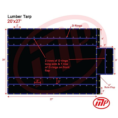 FJYW MT17-LB15-B2027 Light Weight Lumber Tarp with 6' Drop, 20' x 27', Black (27 Drop)
