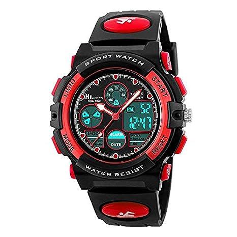 Hiwatch Relojes Deportivos Impermeable para los Niños Reloj de Pulsera Digital a Prueba de Agua Color Rojo: Amazon.es: Relojes