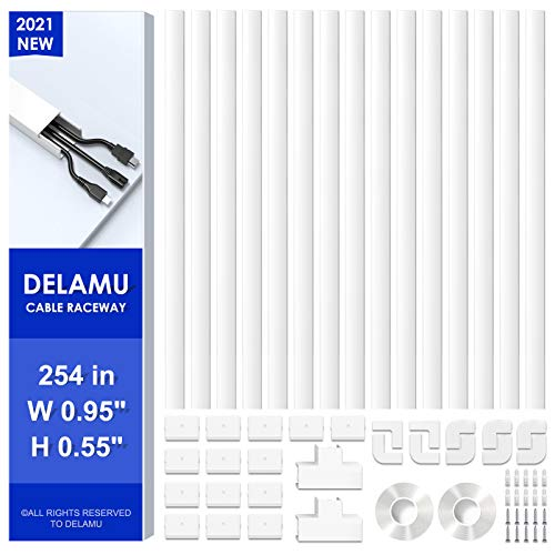 254in Cord Cover, Delamu Cable Concealer Raceway, PVC Cord Hider on Wall, Paintable Cable Raceway Cable Hider, Cuttable Wire Hider for Wall Mounted TV, 15x L16.9in W0.95in H0.55, CC01-15White