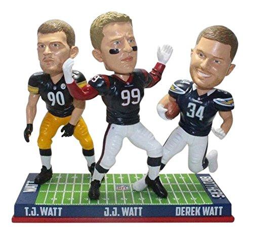 FOCO J.J, T.J, and Derek Watt Houston Texans, Pittsburgh Steelers and Los Angeles Chargers Watt Brothers NFL Special Edition Bobblehead