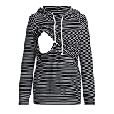 Maternity Clothes, Striped Patchwork Hooded Womens Pregnancy Nursing Tunic Tops Blouse Tshirt with Pocket