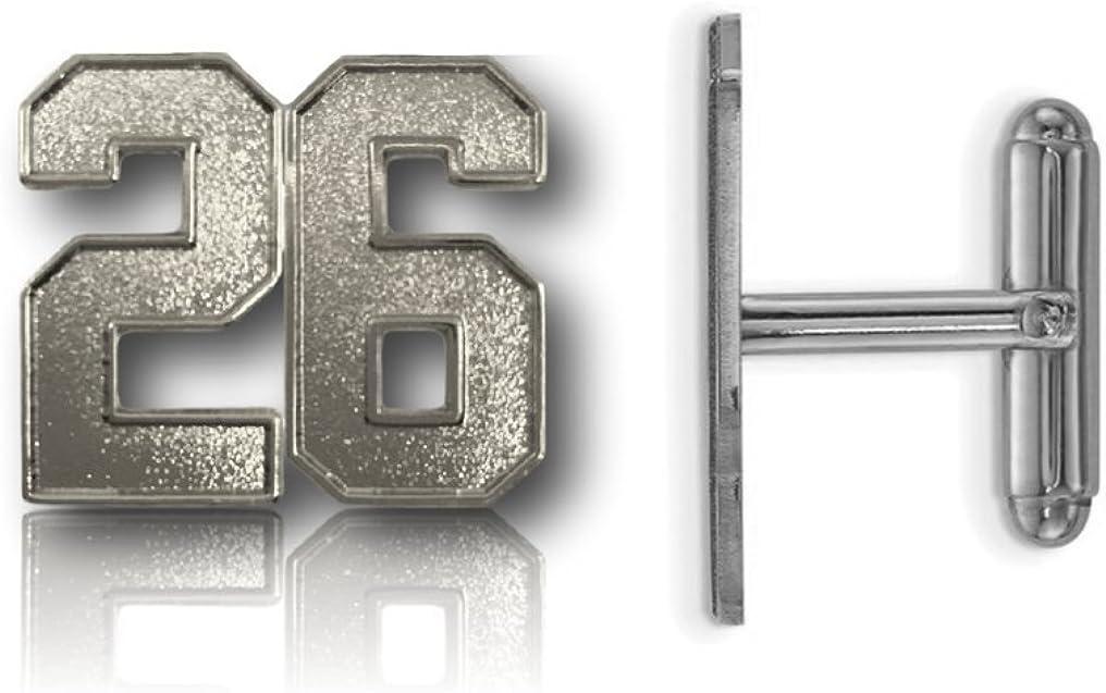 CustomCufflinks Cufflinks Number 26 Silver Plated Jersey Style 0.8 Tall - Standard Size