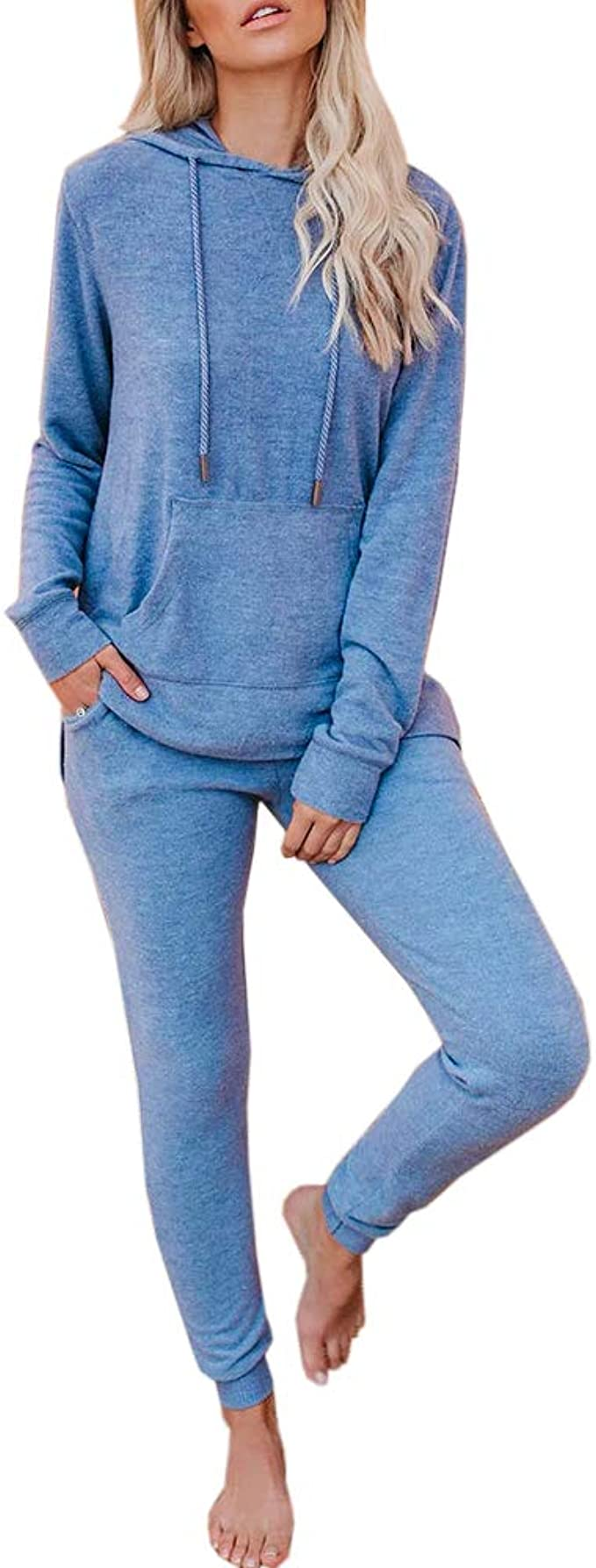 Women Sweat Suits Long Sleeve Hooded Sweatshirt and Sweatpants 2 Piece Sports Workout Sets Tracksuit