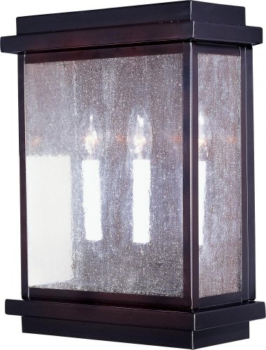 Maxim Lighting 4650CDBU Three Light Burnished Seedy Glass Outdoor Wall Light, Black