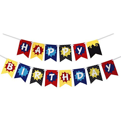 Super Hero - Premium Layered Felt Happy Birthday Banner Bunting Laser Cut Felt 60 inches wide -
