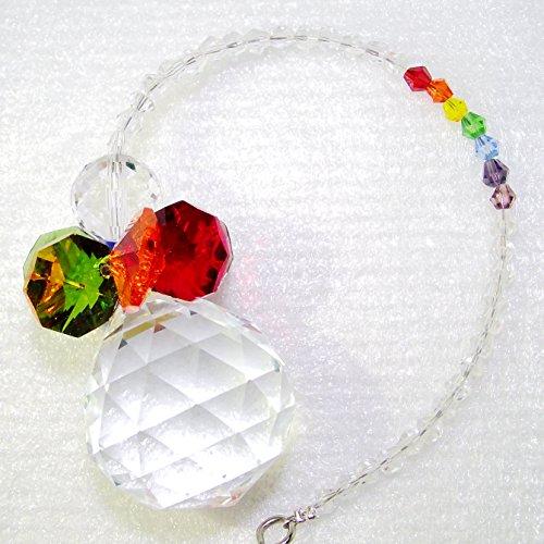 Crystal Suncatcher Snowman 30mm Chandelier Crystals Ball Prisms Rainbow Maker Octogon Chakra Ornament For Window (Christmas Stained Glass Suncatcher)