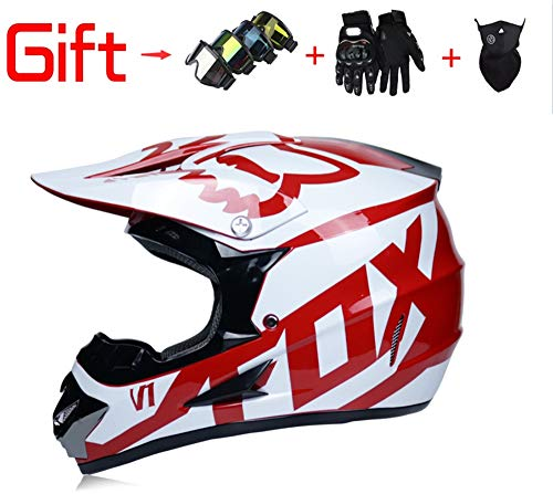 Adult Men and Women Off-Road Vehicle Helmets Downhill DH Racing Motorcycles AM Bicycle Full Face Helmets Mx Helmets (Send Masks, Goggles, Gloves) DOT Certification,A1,XL