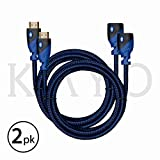 HDMI Extender - Male to Female Extension Cable - 6 Feet (2-Pack) High-Speed HDMI Cable (2.0b) 4k Resolution - Supports: 3D, HD, 2160p, Ethernet, Audio Return (Latest Version) HDCP 2.2 Compliant - 6ft