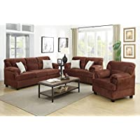 3-Pcs Sofa Set Upholstered Chocolate Colored Microfiber